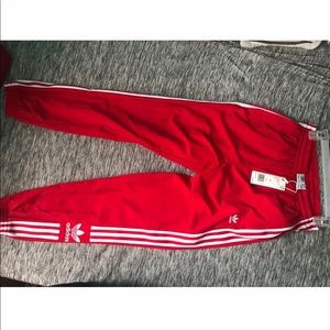 NEW!!! Women's Red adidas lockup track pants SMALL